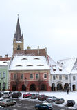 Winter snow town square houses christmas Stock Images