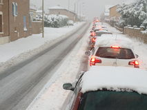 Winter snow traffic jam Royalty Free Stock Images