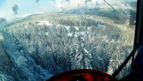 Winter snow trees dolomites panorama cableway pov. Winter snow trees dolomites panorama from cableway pov stock footage