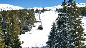 Winter snow trees Dolomites panorama cableway pov. Winter snow trees Dolomites slope panorama cableway pov stock video
