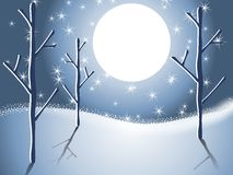 Winter Snow Trees Night Scene 2. A clip art illustration of a winter snow night scene featuring a sloping hill, trees, big moon and snowflakes Royalty Free Stock Photos