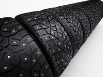 Winter snow tyres with metal spikes. 3d render Royalty Free Stock Photography