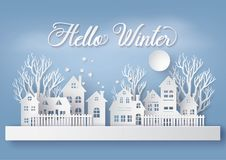 Winter Snow Urban Countryside Landscape City Village with ful lmoon stock illustration