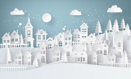 Winter Snow Urban Countryside Landscape City Village with ful lm Stock Images