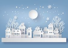 Winter Snow Urban Countryside Landscape City Village with ful lm Royalty Free Stock Image