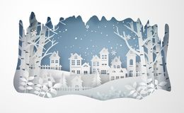 Winter Snow Urban Countryside Landscape City Village with ful lmoon vector illustration
