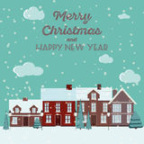 Winter Snow Urban Countryside Landscape City Village Real Estate New Year Christmas Night and Day Background Modern Flat Design Ic Stock Photo