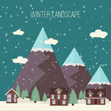 Winter Snow Urban Countryside Landscape City Village Real Estate New Year Christmas Night and Day Background Modern Flat Design Ic Stock Photography