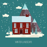 Winter Snow Urban Countryside Landscape City Village Real Estate New Year Christmas Night and Day Background Modern Flat Design Ic Royalty Free Stock Photo