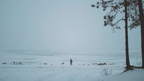 Winter snow vacation. Young woman with mixbreed dog near the frozen river, foggy cloudy weather in the forest near river