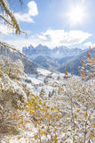 Winter snow in the Val di Funes on the Dolomites mountains Royalty Free Stock Photo