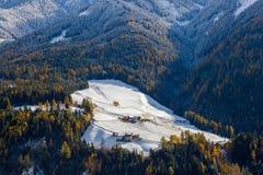 Winter snow, Val di Funes; Dolomites mountains; Trentino-Alto Adige; South Tirol. Winter snow at Val di Funes in the Dolomites mountains; Trentino-Alto Adige royalty free stock photos