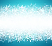 Winter snow vector background with white snow flakes elements in blue background. And empty white blank space for message. Vector illustration Stock Images