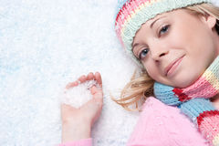 Winter Snow Woman. Beautiful winter snow woman playing stock images