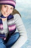 Winter Snow Woman. Beautiful smiling winter snow woman Stock Photo