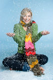 Winter Snow Woman. Beautiful winter woman playing in snow Royalty Free Stock Image