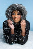 Winter Snow Woman. African american winter snow woman Stock Photo