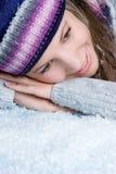 Winter Snow Woman. Beautiful smiling winter snow woman Stock Photography