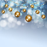 Winter Snow Xmas Balls Background Royalty Free Stock Images