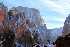 Winter snow in Zion National Park stock photos