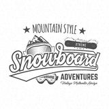 Winter snowboard sports label, t-shirt. Vintage mountain style shirt design. Outdoor adventure typography and Stock Image