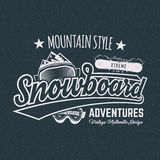 Winter snowboard sports label, t shirt. Vintage mountain style shirt design. Outdoor adventure typography and stock illustration