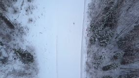 Winter snowboarding and skiing on ski slope aerial shooting from flying drone. Winter skiing on ski lodge aerial view. Winter vacations on ski resort stock video
