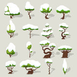 Winter Snowbound Trees Collection Stock Photography