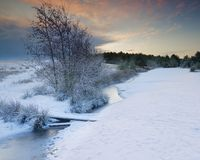 Free Winter, Snowcovered Landscape Scene. Northumberland UK. Stock Images - 138396424