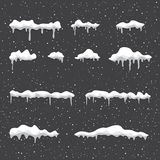Winter snowdrift background. Winter snowdrift on background. Snow cap element. Cartoon ice and icicle. Christmas and New Year template Stock Image
