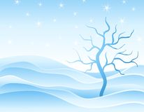 Winter Snowdrifts and Tree in Blue Stock Photo