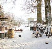 Winter snowed in garden Stock Photos
