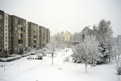 Winter snowfall in capital of Lithuania Vilnius city Pasilaiciai district Royalty Free Stock Images