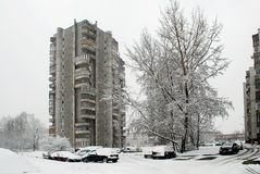 Winter snowfall in capital of Lithuania Vilnius city Seskine district Royalty Free Stock Image