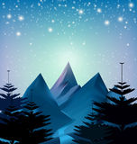 Winter snowfall drop mountain on blue background Royalty Free Stock Photography