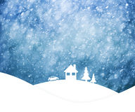 Winter snowfall with illustrated family home on hill Stock Photography
