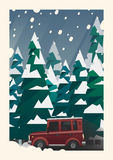 Winter snowfall off-road vehicle adventure Stock Image