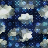 Winter snowfall pattern on night sky background. Stock Image