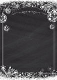 Winter snowflake, Christmas ball, retro border and blackboard te Royalty Free Stock Image