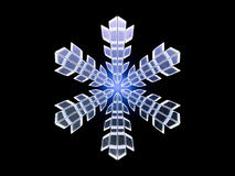 Winter snowflake on color background. 3D. Rendering Royalty Free Stock Image