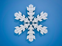 Winter snowflake on color background. 3D. Rendering Royalty Free Stock Images