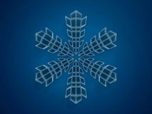Winter snowflake on color background. 3D. Rendering Stock Photography