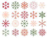 Winter snowflake designs in green and red Royalty Free Stock Photography