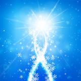 Winter snowflake falling with glittering and lighting over blue. Winter snowflake falling into snow floor and lighting over blue abstract background for winter Stock Photography