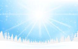 Winter snowflake falling into snow floor and lighting over blue. Abstract background for winter celebration promotion and christmas with copy space and vector Royalty Free Stock Images