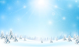 Winter snowflake falling into snow floor and lighting. Over blue abstract background for winter celebration promotion and christmas with copy space and vector Stock Photos
