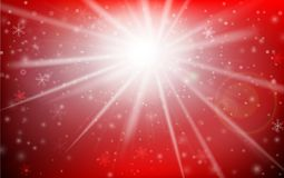 Winter snowflake falling into snow floor and lighting over red a. Bstract background for winter celebration promotion and christmas with copy space and vector Royalty Free Stock Image