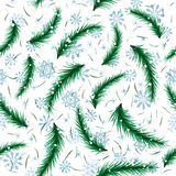 Winter snowflake and fir brunch seamless pattern. Royalty Free Stock Photos