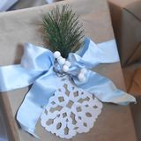 Winter Snowflake Gift Wrapping Blue Bow royalty free stock image