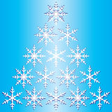 Winter snowflake gradient blue background. Stock Photo